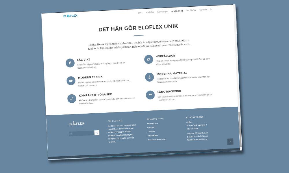 Eloflex är en unik hopfällbar elrullstol med låg vikt och kompakt utförande.