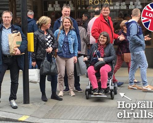 resa london, semester, Eloflex hopfällbar elrullstol, elektrisk rullstol, vikbar, portabel, lätt, låg vikt, egen bil, flyg, resa, kompakt, smidig