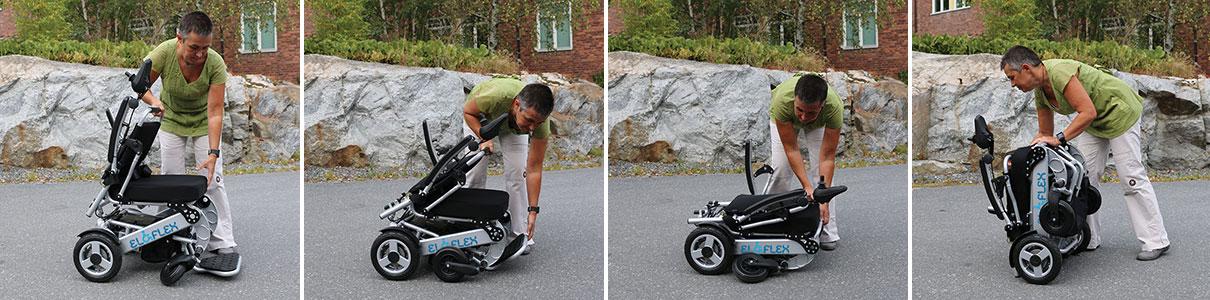 Fäll ihop Eloflex hopfällbar elrullstol, elektrisk rullstol, vikbar, portabel, lätt, låg vikt, egen bil, flyg, resa, kompakt, smidig