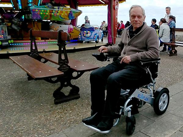 Ålderdom Eloflex hopfällbar elrullstol, elektrisk rullstol, vikbar, portabel, lätt, låg vikt, egen bil, flyg, resa, kompakt, smidig