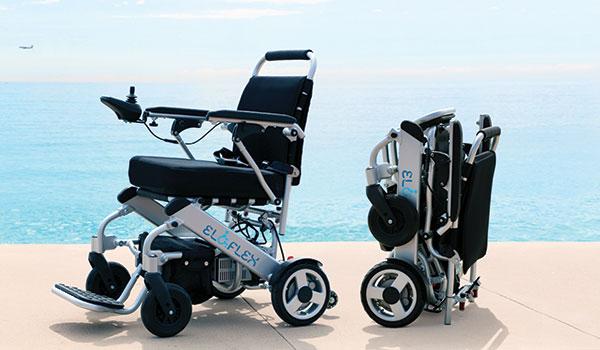 Pris Eloflex hopfällbar elrullstol, elektrisk rullstol, vikbar, portabel, lätt, låg vikt, egen bil, flyg, resa, kompakt, smidig