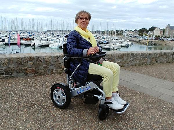 PRO, pensionär, senior Eloflex hopfällbar elrullstol, elektrisk rullstol, vikbar, portabel, lätt, låg vikt, egen bil, flyg, resa, kompakt, smidig