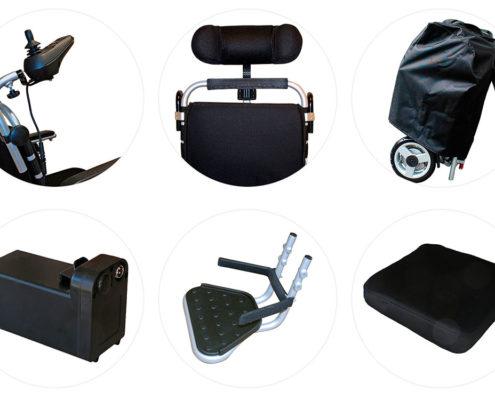 tillbehör, nackstöd, vårdarstyrning, väska, batteri, fotstöd Eloflex hopfällbar elrullstol, elektrisk rullstol, vikbar, portabel, lätt, låg vikt, egen bil, flyg, resa, kompakt, smidig