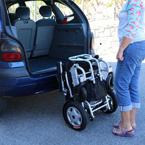 Eloflex hopfällbar elrullstol lufta in i bilen
